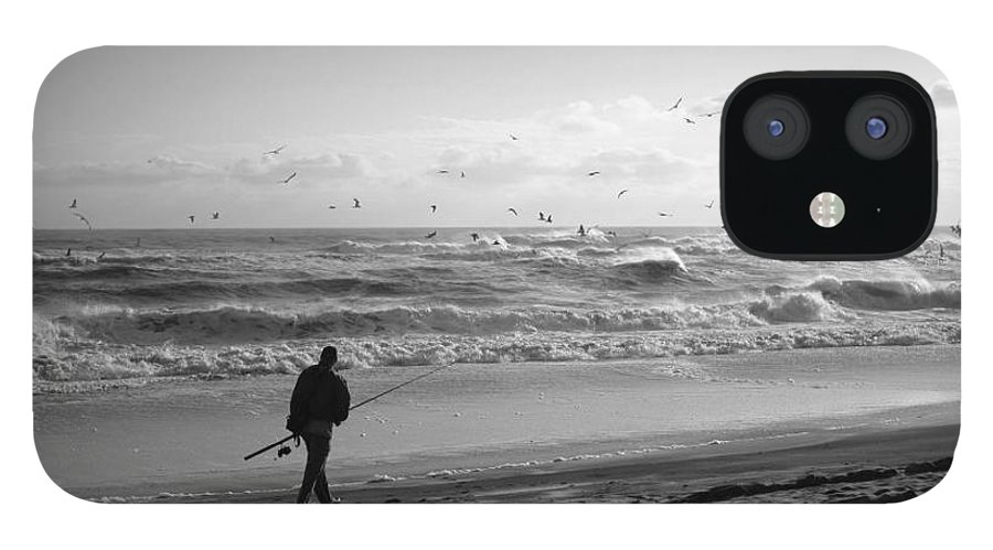 Sea IPhone 12 Case featuring the photograph Lone Fisherman by Linda C Johnson