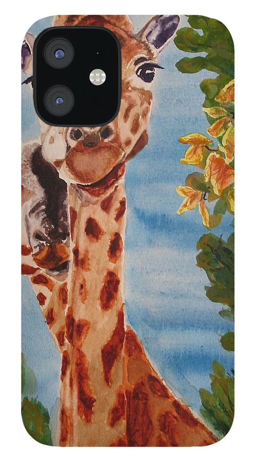 Giraffes IPhone 12 Case featuring the painting Lookin Back by Karen Ilari