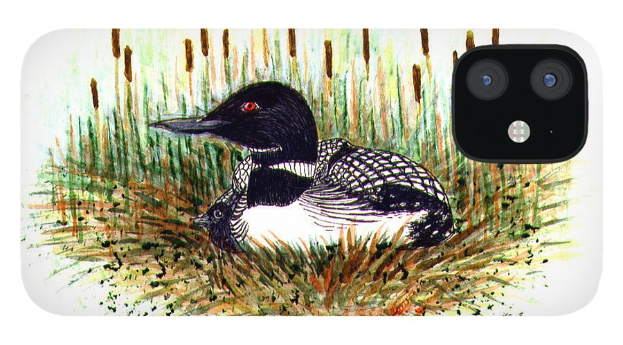 Loon IPhone 12 Case featuring the painting Loon and Baby Judy Filarecki Watercolor by Judy Filarecki