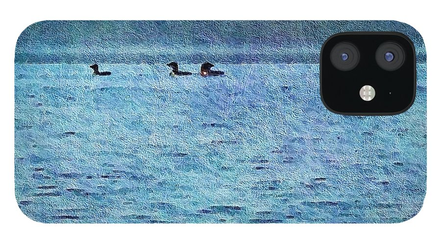 Olson IPhone 12 Case featuring the photograph Loons On The Lake by Joy Nichols