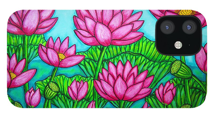 Lotus IPhone 12 Case featuring the painting Lotus Bliss II by Lisa Lorenz