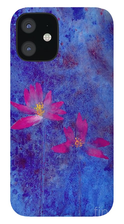 Free Style Lotus Flowers In Dreamy Blue Background. This Is A Contemporary Chinese Ink And Color On Rice Paper Painting With Simple Zen Style Brush Strokes.  IPhone 12 Case featuring the painting Lotus II by Mui-Joo Wee