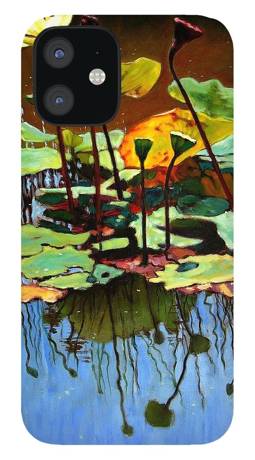 Lotus Flower IPhone 12 Case featuring the painting Lotus In July by John Lautermilch