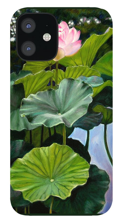 Lotus Flower IPhone 12 Case featuring the painting Lotus Rising by John Lautermilch