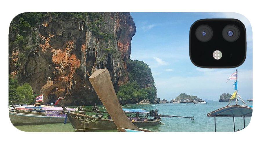 Thailand IPhone 12 Case featuring the photograph Lounging Longboats by Ell Wills
