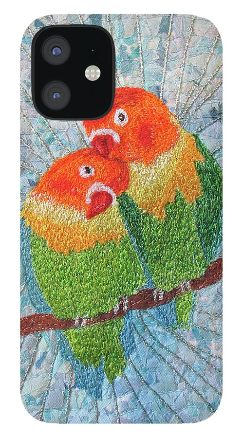 Love Birds IPhone 12 Case featuring the tapestry - textile Love Birds2 by Dolores Fegan