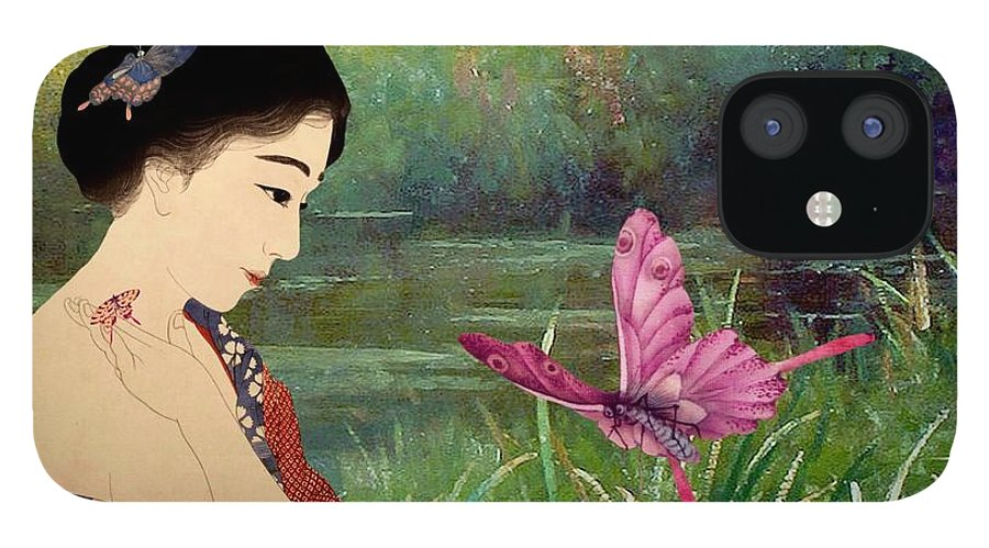 Japanese IPhone 12 Case featuring the digital art Loved By Butterflies by Laura Botsford