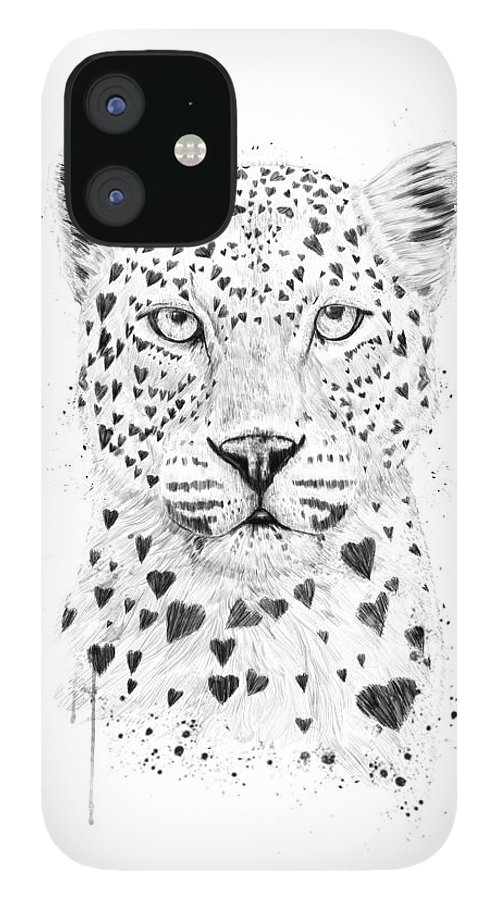 Leopard iPhone 12 Case featuring the drawing Lovely leopard by Balazs Solti