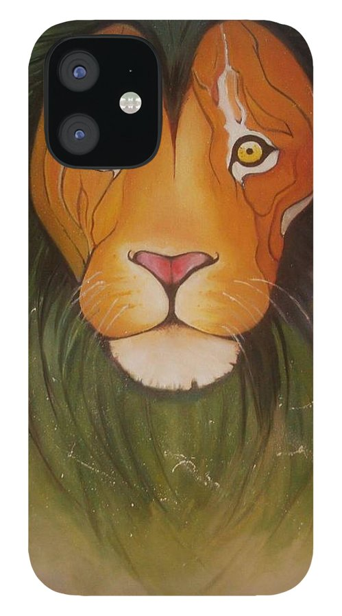 #lion #oilpainting #animal #colorful IPhone 12 Case featuring the painting LovelyLion by Anne Sue