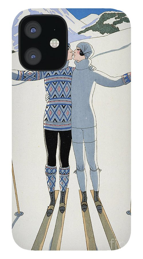 Winter: Lovers In The Snow iPhone 12 Case featuring the painting Lovers in the Snow by Georges Barbier