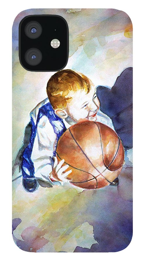 Watercolor iPhone 12 Case featuring the painting Loves the Game by Shannon Grissom