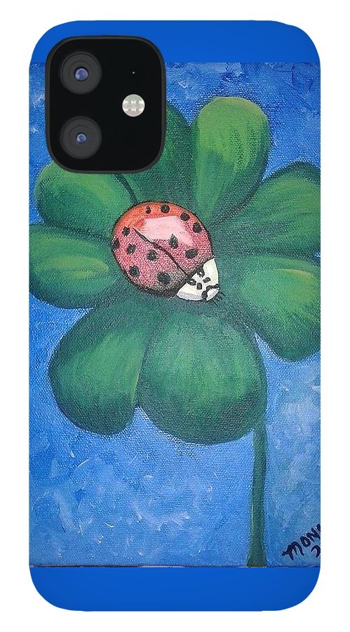 Ladybug IPhone 12 Case featuring the painting Lucky Ladybug on 4-Leaf Clover by Monica Resinger