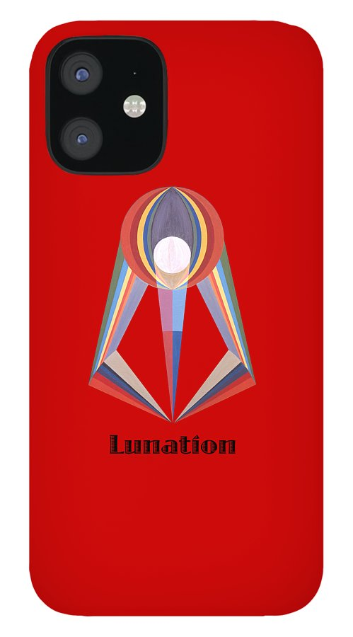 Painting IPhone 12 Case featuring the painting Lunation text by Michael Bellon