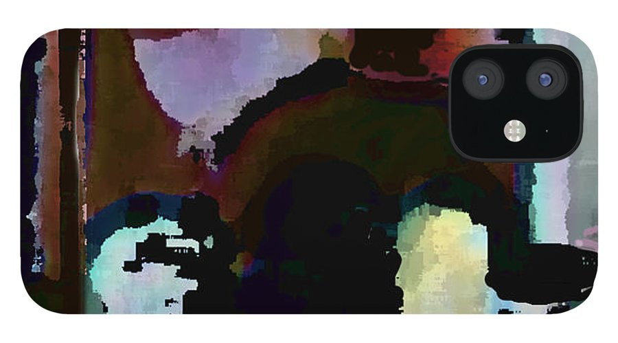 Abstract Expressionism IPhone 12 Case featuring the painting Lunch counter by Steve Karol