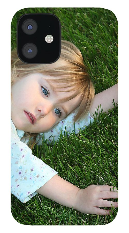 Girl IPhone 12 Case featuring the photograph Lying in the Grass by Margie Wildblood