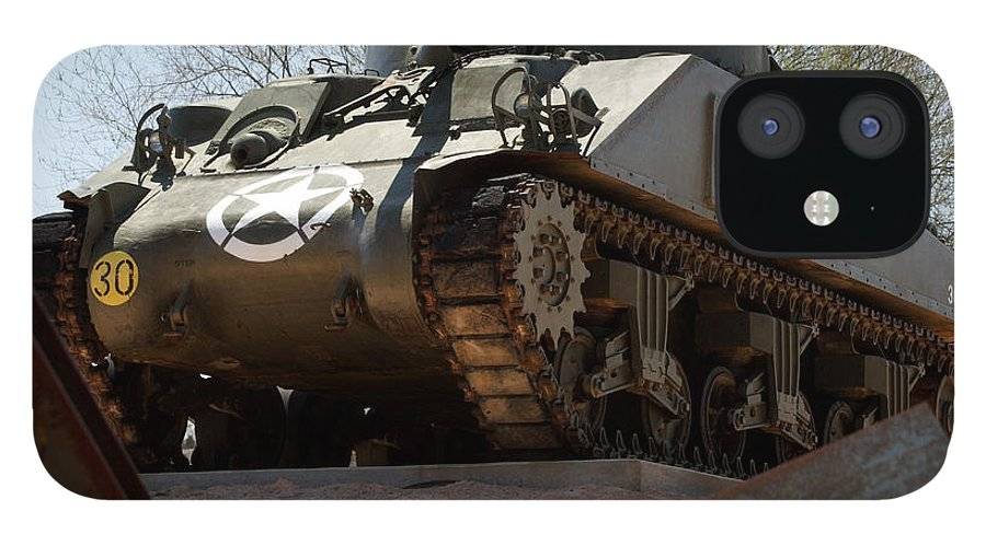 Army IPhone 12 Case featuring the photograph M4 Sherman Tank by Jean Macaluso