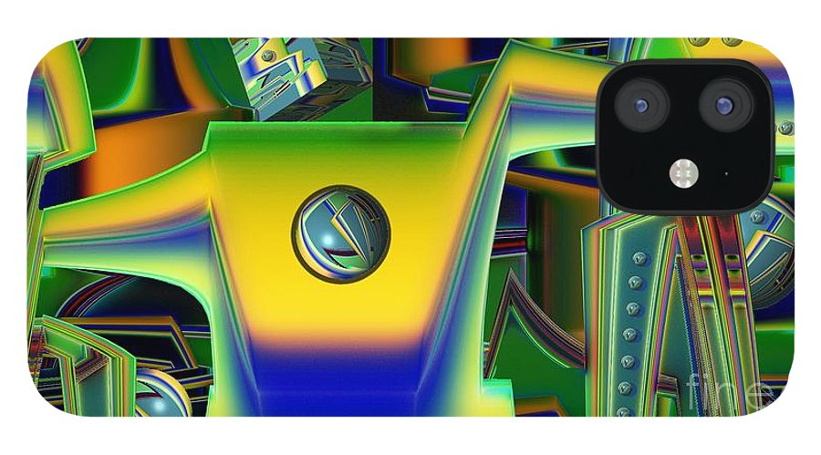 Assembly Line IPhone 12 Case featuring the digital art Machinery by Ron Bissett