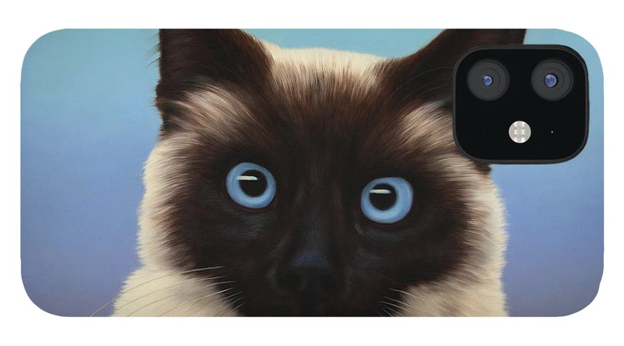 Cat IPhone 12 Case featuring the painting Machka 2001 by James W Johnson