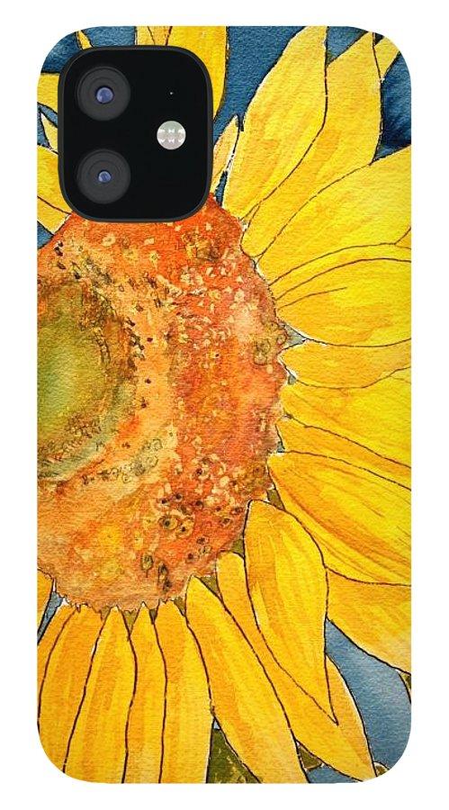 Sunflower iPhone 12 Case featuring the painting Macro Sunflower Art by Derek Mccrea