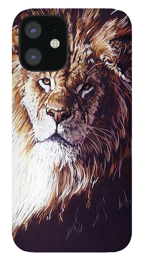 Lion IPhone 12 Case featuring the drawing Maestro by Barbara Keith
