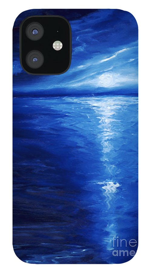 Blue Moon IPhone 12 Case featuring the painting Magical Moonlight by James Christopher Hill
