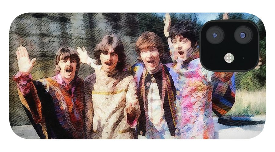 Hollywood IPhone 12 Case featuring the painting Magical Mystery Tour, The Beatles by Esoterica Art Agency