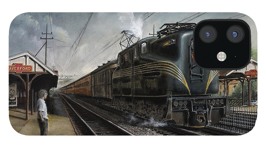 Trains IPhone 12 Case featuring the painting Mainline Memories by David Mittner