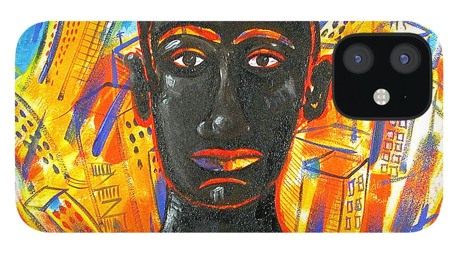 Man IPhone 12 Case featuring the painting Man and The City by Rollin Kocsis