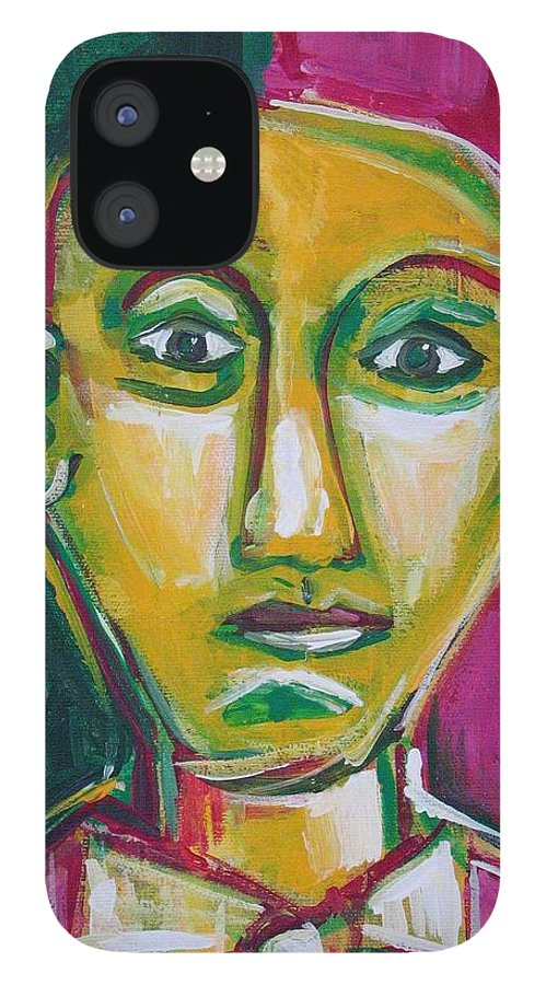 Face IPhone 12 Case featuring the painting Man With Bowtie by Rollin Kocsis