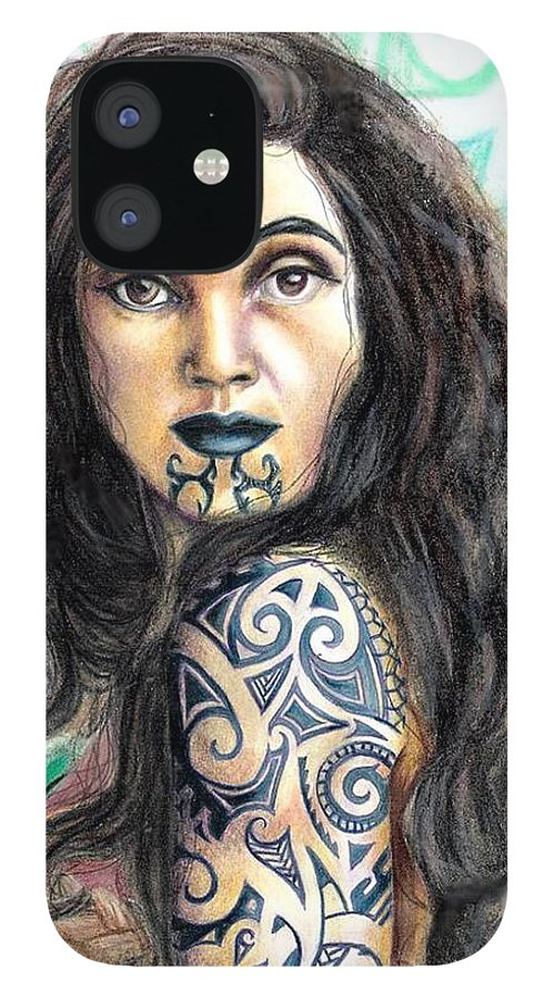 Woman IPhone 12 Case featuring the drawing Maori Woman by Scarlett Royal