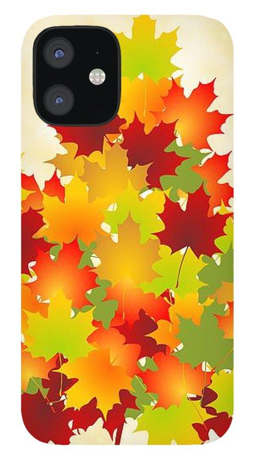 Maple IPhone 12 Case featuring the digital art Maple Leaves by Anastasiya Malakhova