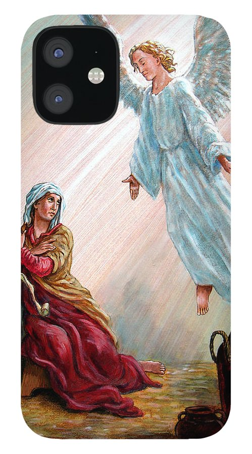 Angel IPhone 12 Case featuring the painting Mary and Angel by John Lautermilch