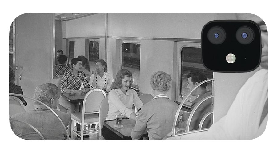 Passengers IPhone 12 Case featuring the photograph Passengers Mingle on Train - 1958 by Chicago and North Western Historical Society