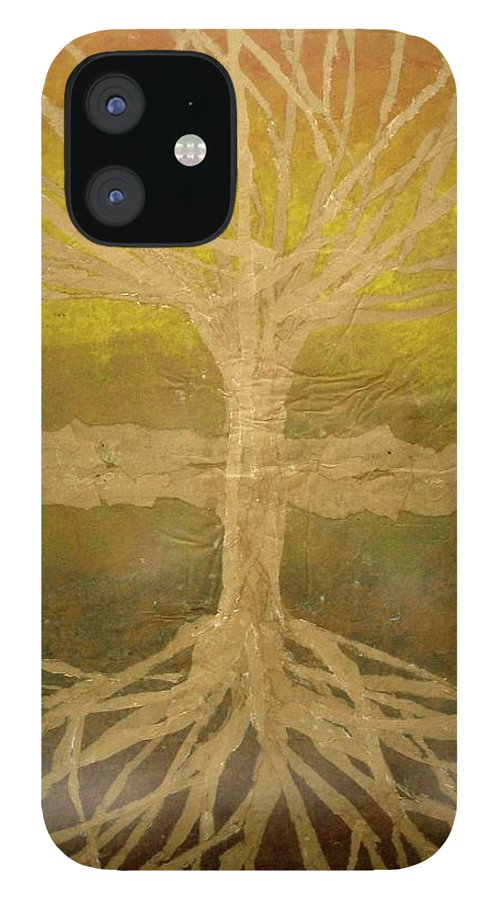 Abstract IPhone 12 Case featuring the painting Meditation by Leah Tomaino