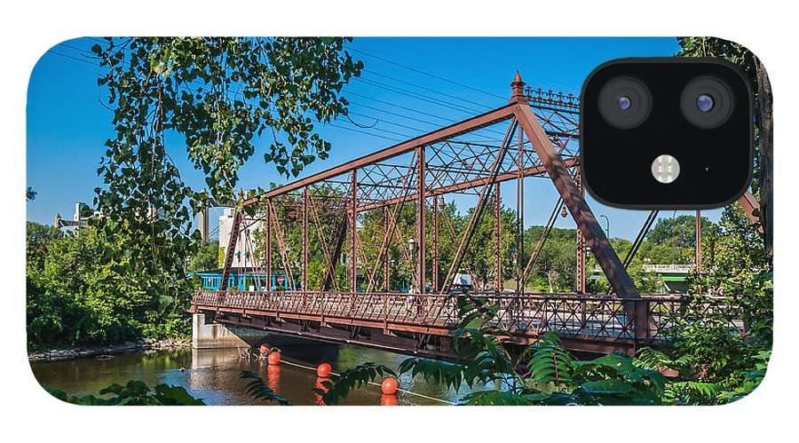 Merriam Street Bridge; Bridge; St. Anthony Riverplace; Minneapolis IPhone 12 Case featuring the photograph Merriam Street Bridge by Lonnie Paulson
