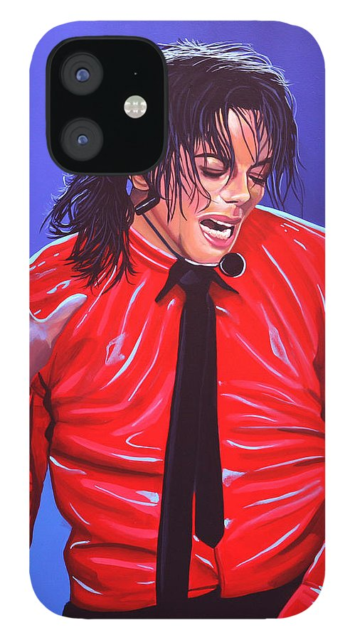Michael Jackson IPhone 12 Case featuring the painting Michael Jackson 2 by Paul Meijering