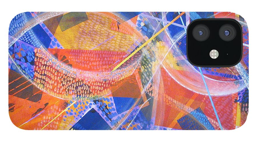 Non-representational IPhone 12 Case featuring the painting Microcosm XIII by Rollin Kocsis