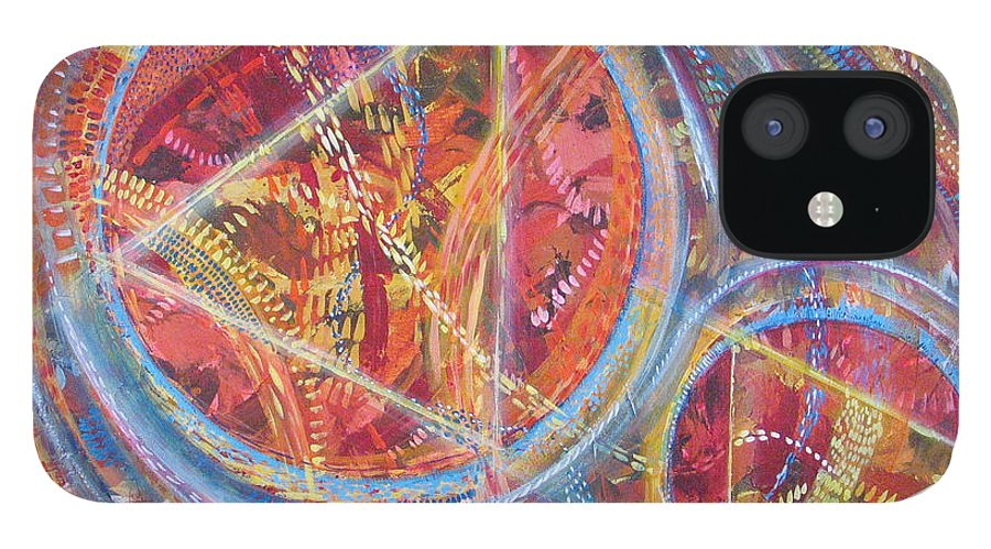 Geometric IPhone 12 Case featuring the painting Microcosm XVI by Rollin Kocsis