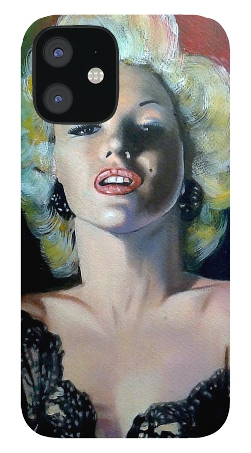 M Monroe IPhone 12 Case featuring the painting M.Monroe 3 by Jose Manuel Abraham