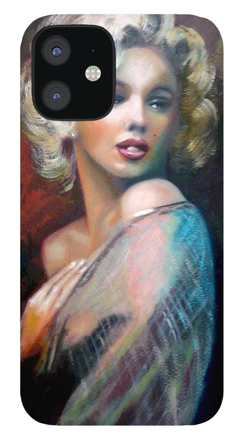 Monroe. Women. IPhone 12 Case featuring the painting M.Monroe by Jose Manuel Abraham