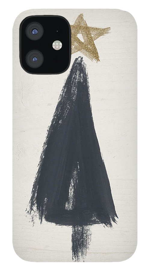 Contemporary iPhone 12 Case featuring the painting Modern Primitive Black and Gold Tree 3- Art by Linda Woods by Linda Woods