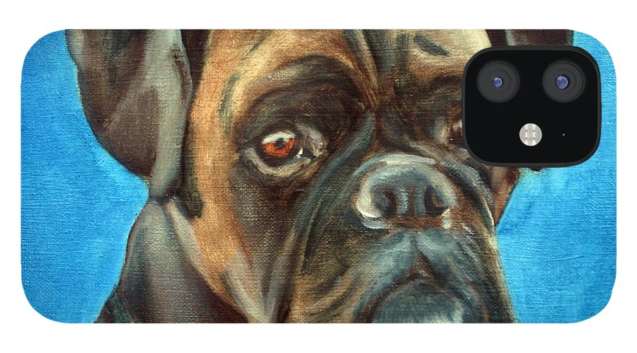 Boxer Dog IPhone 12 Case featuring the painting Moira by Fiona Jack