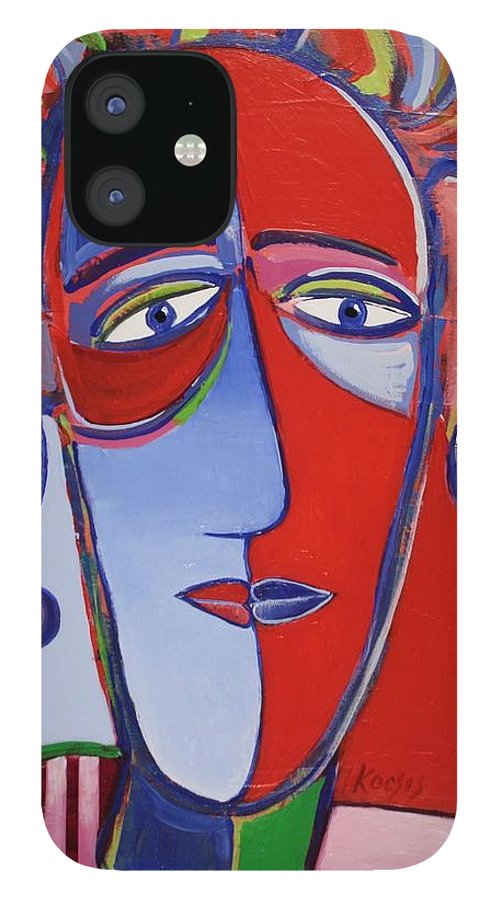 Faces IPhone 12 Case featuring the painting Mona and Me by Rollin Kocsis
