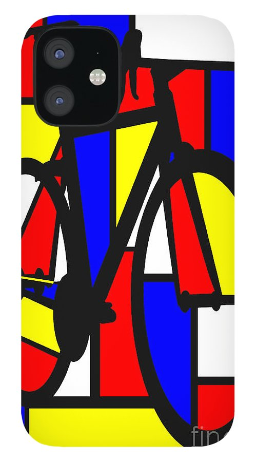 Bicycle IPhone 12 Case featuring the painting Mondrianesque Road bike by Sassan Filsoof