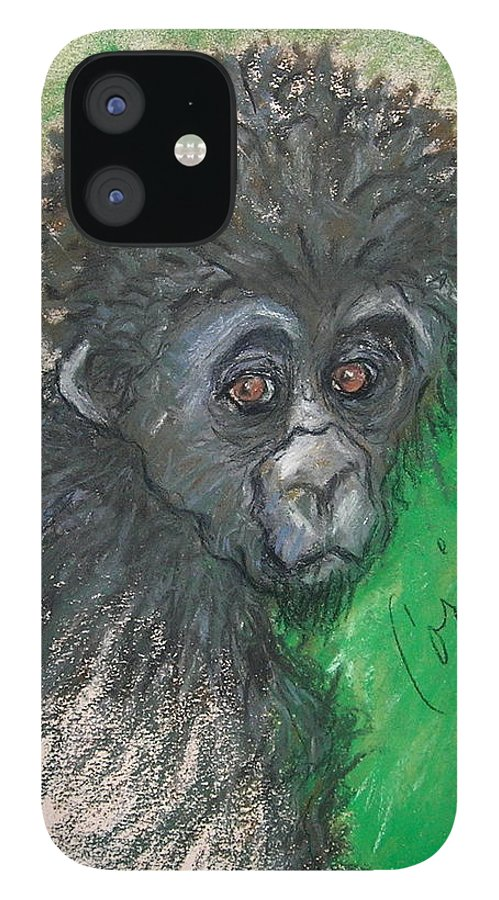 Monkey iPhone 12 Case featuring the drawing Monkey Business by Cori Solomon