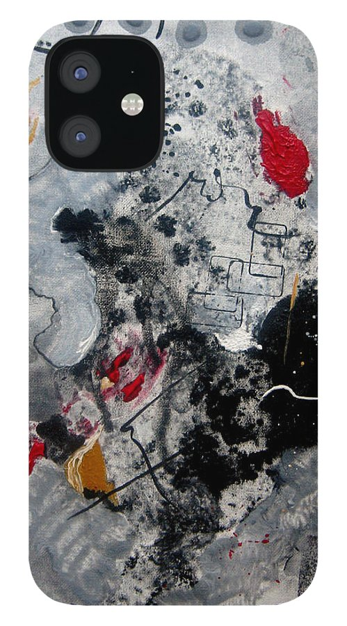 Abstract IPhone 12 Case featuring the painting Moods II by Ruth Palmer