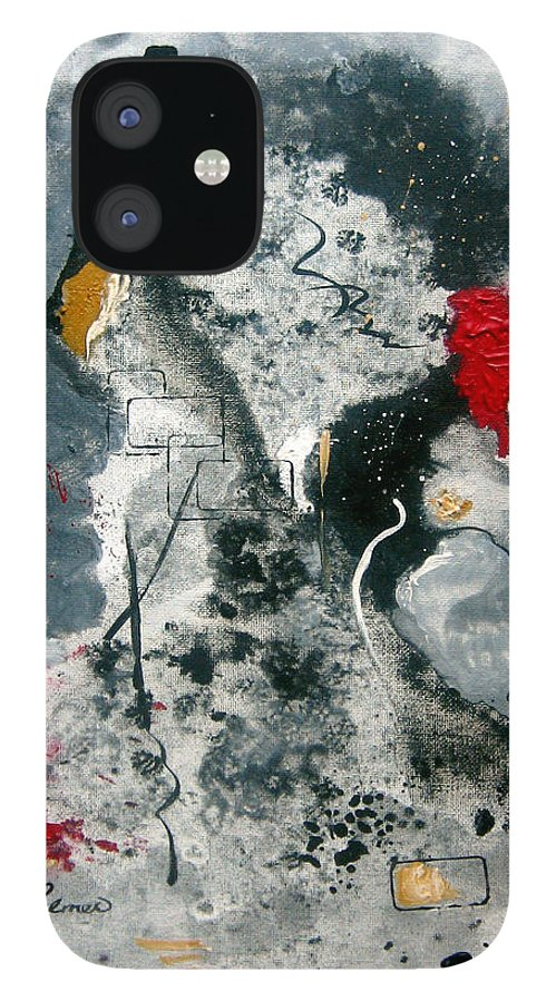 Abstract IPhone 12 Case featuring the painting Moods by Ruth Palmer