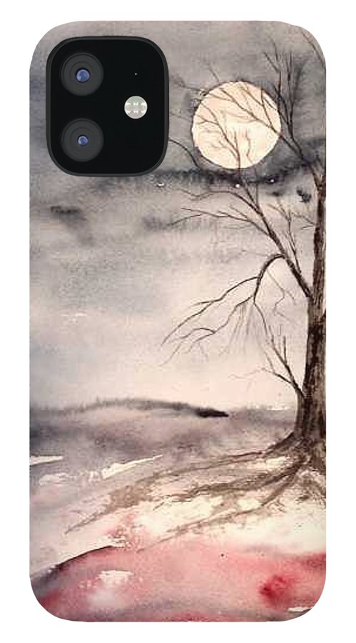 Moon IPhone 12 Case featuring the painting Moon Light by Derek Mccrea