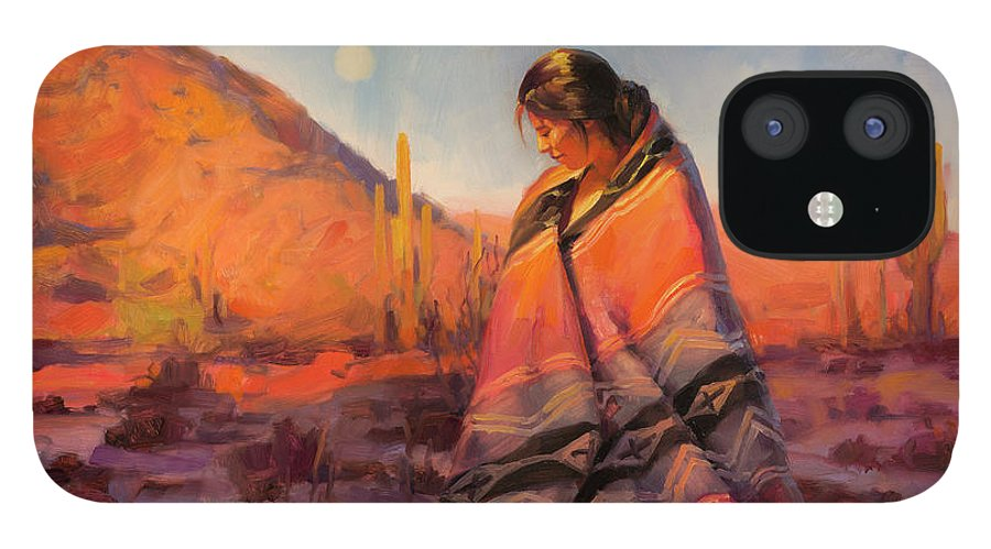 Southwest IPhone 12 Case featuring the painting Moon Rising by Steve Henderson