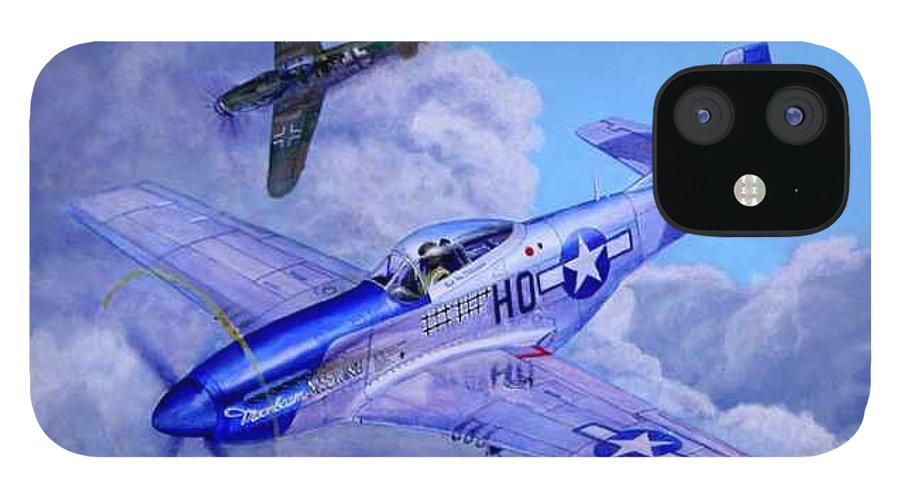 Capt Bill Wisner Shoots Down Two Bf-109s On November 2nd 1944 IPhone 12 Case featuring the painting Moonbeam McSwine by Scott Robertson